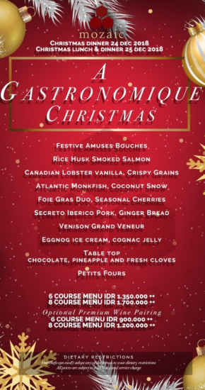 Mozaic puts the gastronomique into Christmas.